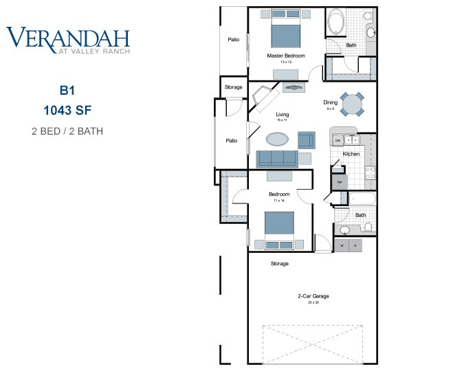 1,043 sq. ft. B1-GAR floor plan