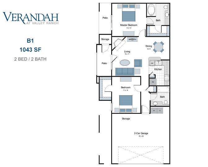 1,043 sq. ft. B1-GAR floor plan