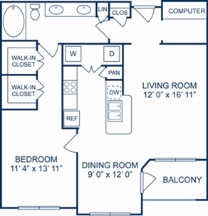897 sq. ft. Moscow floor plan