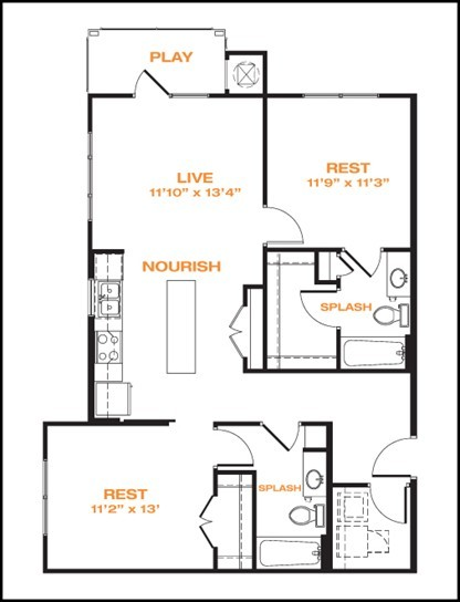 1,013 sq. ft. floor plan