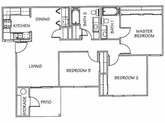 1,089 sq. ft. 60% floor plan