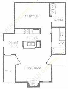 683 sq. ft. B floor plan