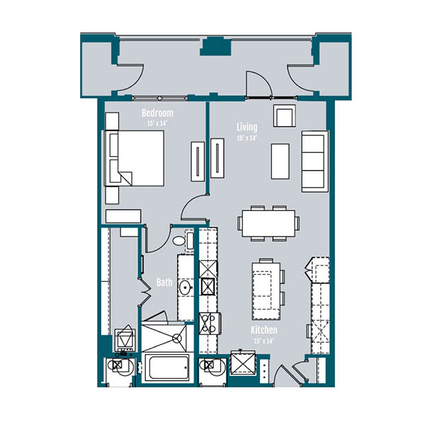 903 sq. ft. A8 floor plan