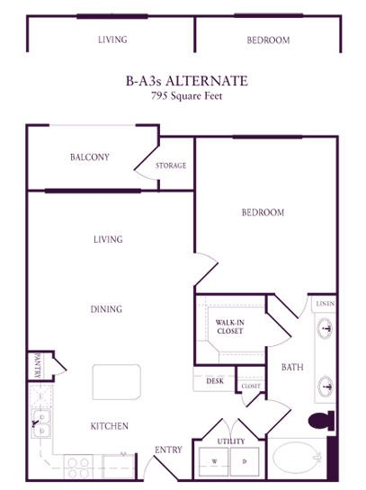 728 sq. ft. A-A3 floor plan