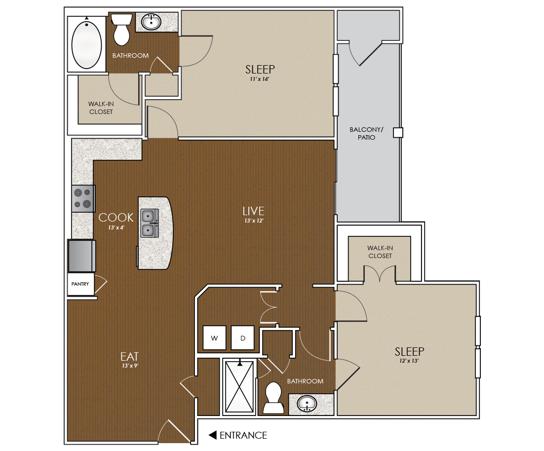 1,177 sq. ft. Topaz floor plan