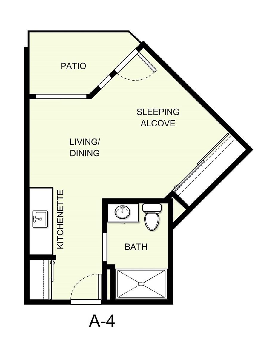365 sq. ft. A4 floor plan