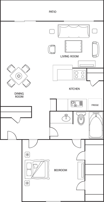 670 sq. ft. A2 floor plan
