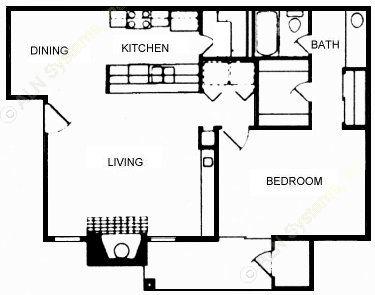 815 sq. ft. floor plan