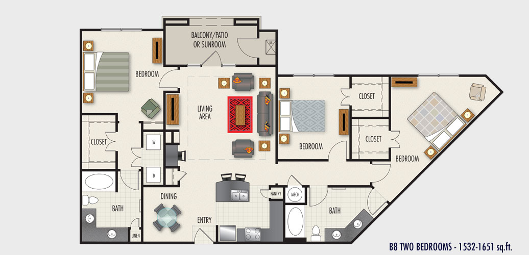 1,532 sq. ft. to 1,651 sq. ft. B8 floor plan