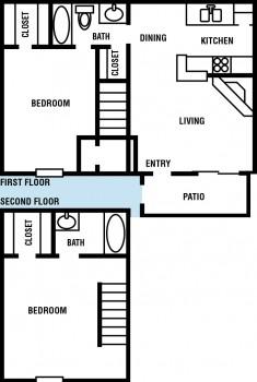 682 sq. ft. Birch floor plan