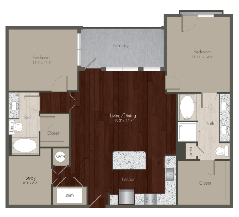 1,331 sq. ft. B4 floor plan