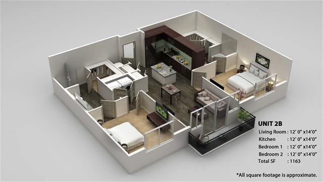 1,163 sq. ft. 2B floor plan