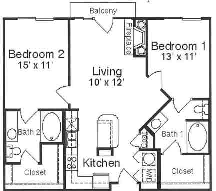 965 sq. ft. floor plan