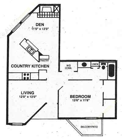 830 sq. ft. A-3 floor plan
