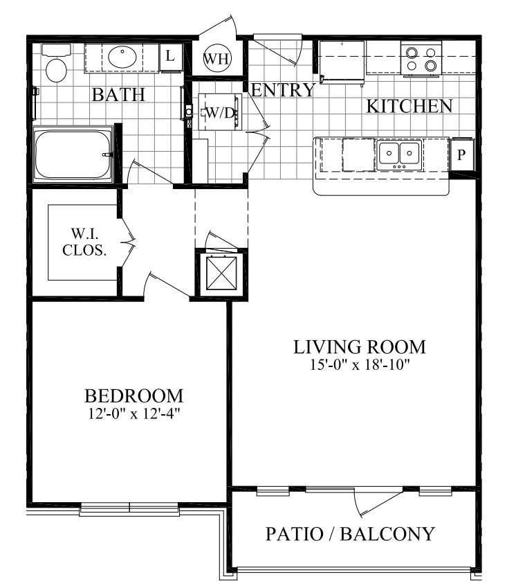 789 sq. ft. B floor plan
