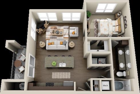 757 sq. ft. Walnut floor plan