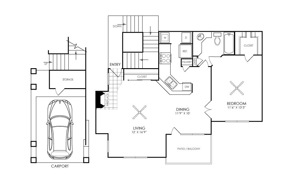 751 sq. ft. A2C floor plan