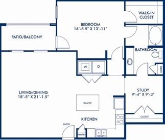 1,170 sq. ft. Bauhaus floor plan