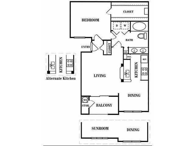 743 sq. ft. B floor plan