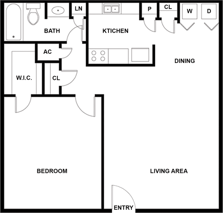 729 sq. ft. E floor plan