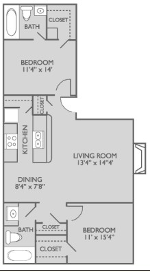 889 sq. ft. B1n3 floor plan
