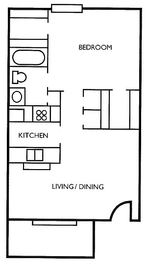562 sq. ft. Aspen floor plan