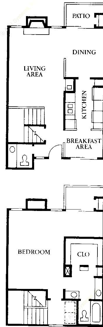 1,097 sq. ft. A3 floor plan
