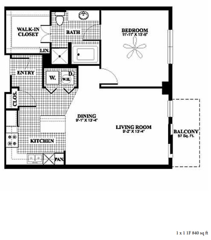 840 sq. ft. 1F floor plan