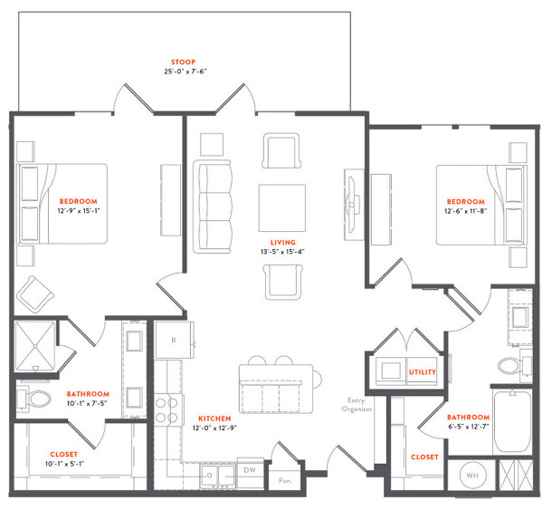 1,160 sq. ft. B1C floor plan