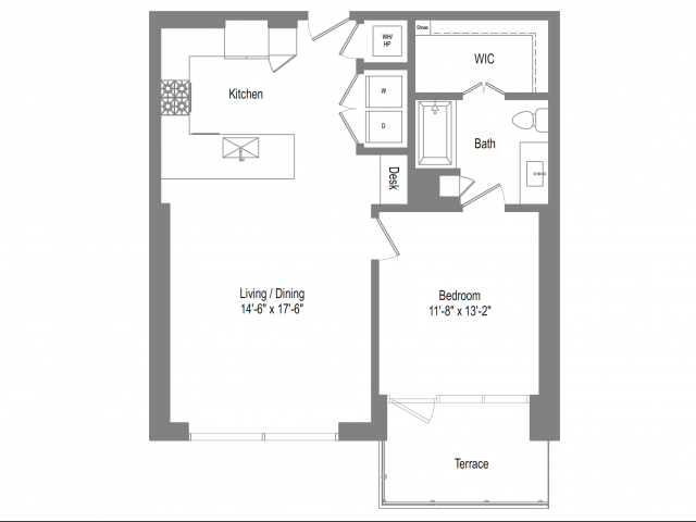 842 sq. ft. A4B floor plan