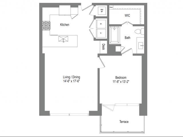 842 sq. ft. A4B floor plan