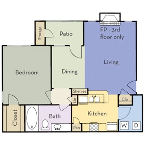 774 sq. ft. Plan A1B floor plan