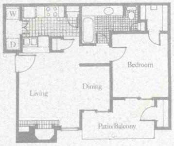 670 sq. ft. 1A2 floor plan