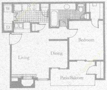 670 sq. ft. 1A2 floor plan