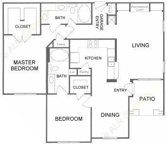 1,224 sq. ft. F floor plan