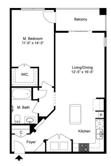767 sq. ft. A2 Mkt floor plan