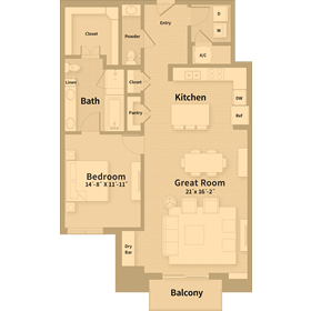 1,220 sq. ft. B1 floor plan