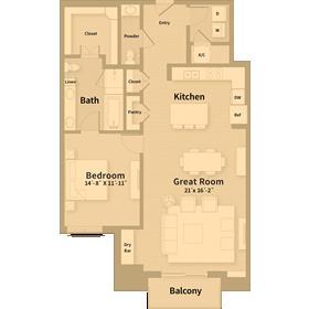 1,220 sq. ft. B1 floor plan