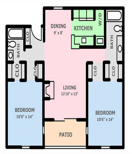 1,000 sq. ft. 2B floor plan