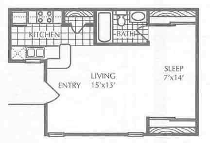 471 sq. ft. S1 floor plan
