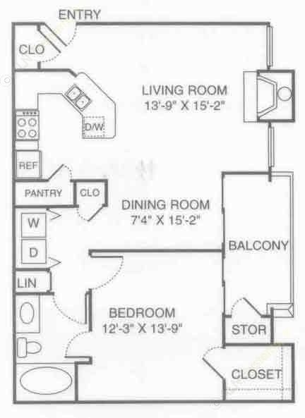 801 sq. ft. V-Park floor plan