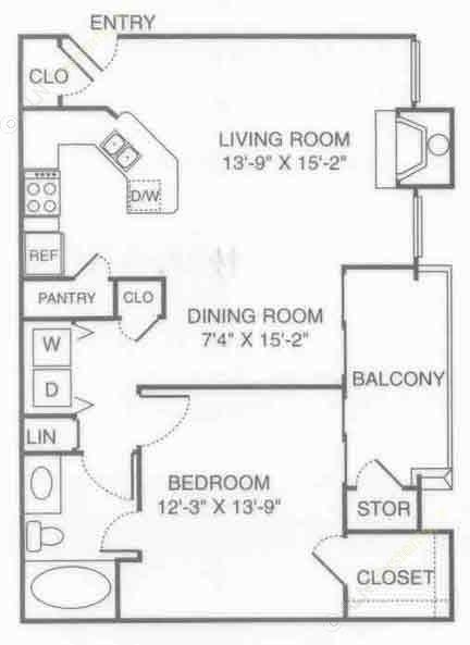 801 sq. ft. V-Park floor plan