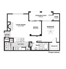 798 sq. ft. to 822 sq. ft. Birch floor plan