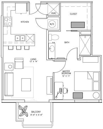681 sq. ft. T floor plan