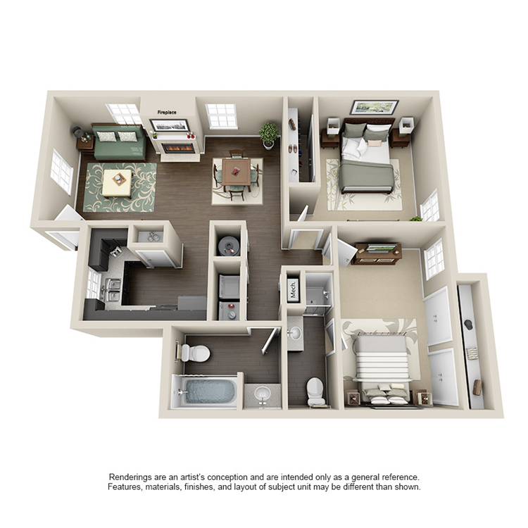 898 sq. ft. F floor plan