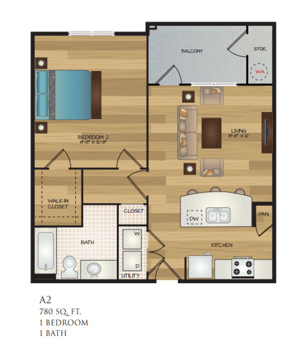 780 sq. ft. A2 floor plan
