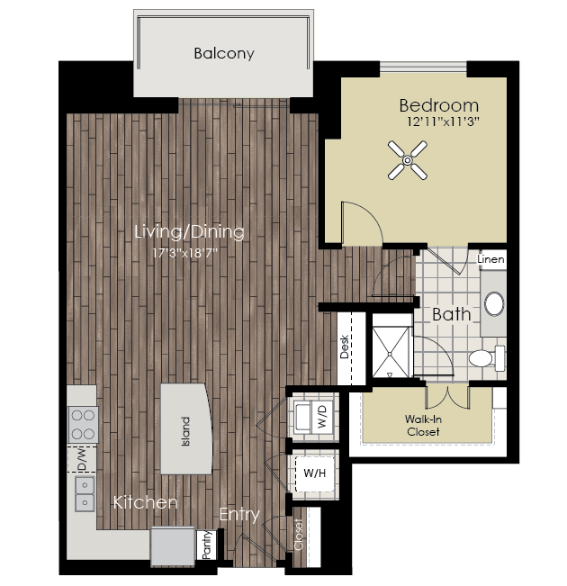 972 sq. ft. A14 floor plan