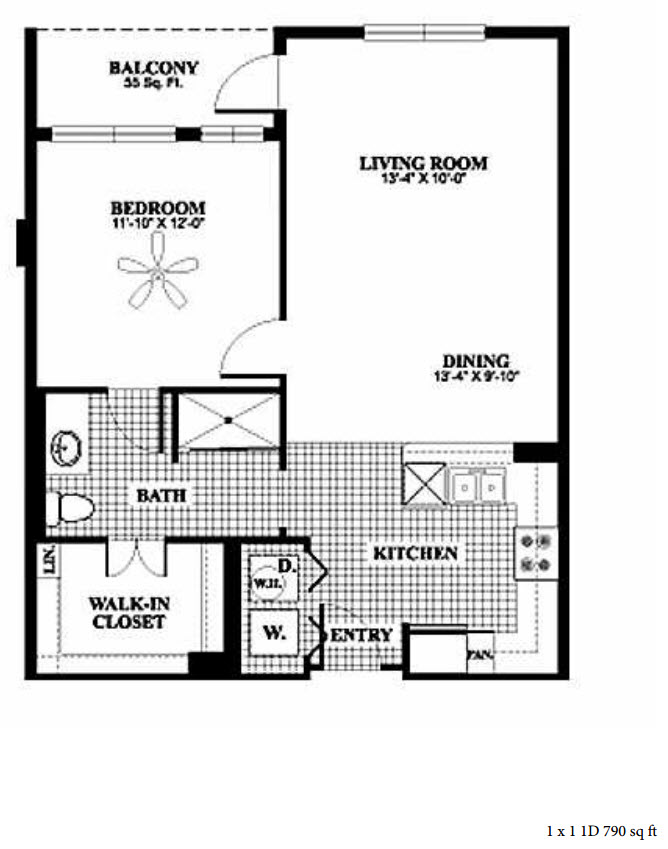790 sq. ft. 1D floor plan