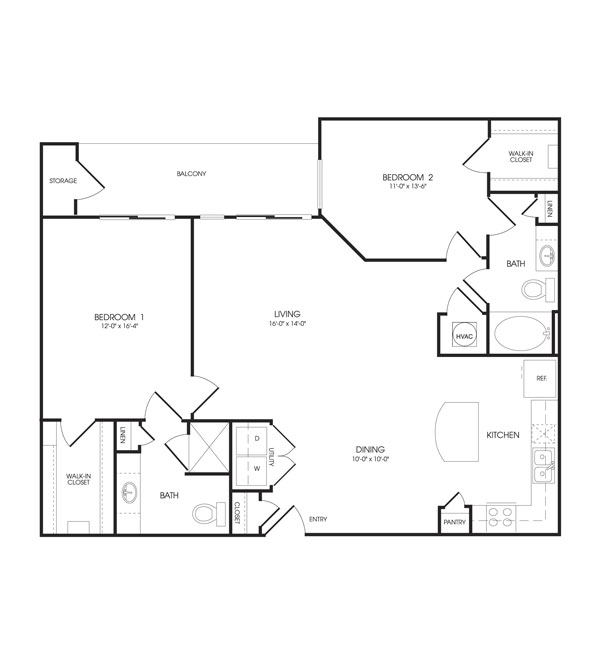 1,274 sq. ft. Union floor plan