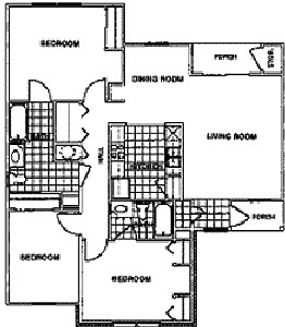 1,096 sq. ft. Mkt floor plan